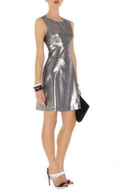 Karen Millen 60S Metallic Shift Dress Silver Dn222 Sale