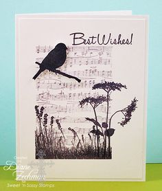 handmde card using Nature Silhouettes 2 Clear Stamp Set from Sweet 'n Sassy Stamps n... black and white one layer design ... die cut bird and a branch ... sheet music background ... greeting and one flower off the main panel area ... grat card!!