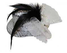 White Sequin Fascinator Christmas Accessories, Waist Cincher, Hot Pants, Fascinator, Wicked, Sequins, Headdress, Headpiece, Witches