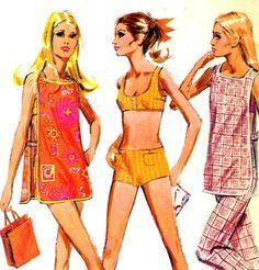 McCalls 2350 Boy Shorts Bikini, Apron Poncho and Pants Mod 1970s Vintage Sewing Pattern--Bust 36, via Etsy.
