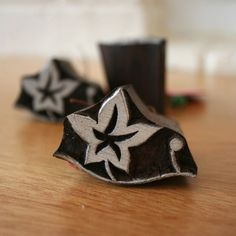 Indian Hand Carved Wooden Stamp - Star Leaf