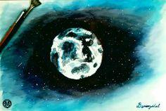 Moon acuarela.