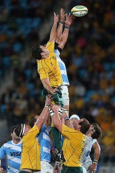 Dave Dennis of the Australian Wallabies reaches for a lineout during the Rugby Championship match between the Australian Wallabies and Argentina at Skilled Park on September 15, 2012 on the Gold Coast, Australia.