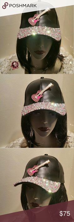 Mothers Day Bling Hats-Mothers Day Gifts-Bling Hat This sporty faux leather Swarovski pink Mothers Day Bling Hat it so much fun!  It has lovely pink, peach and white iridescent pearls, with high end pink and clear Swarovski crystals sprayed all over the the bill of this hat.  It's one of my most favorites!  I loved making this hat.   The guitar has exquisite pink crystals on it.  I also put high end iridescent glass crystals too.  I wanted this hat to stand out in a crowd.   In the sun it's…
