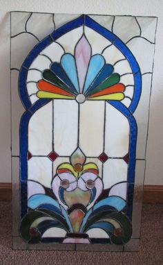 """Beautiful Vintage Church Stain Glass Window w Jewels 28""""x 14 1 2""""   eBay"""