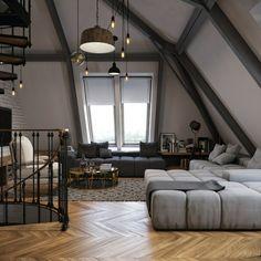 spiral staircase interior design loft apartment gray Furniture lighting