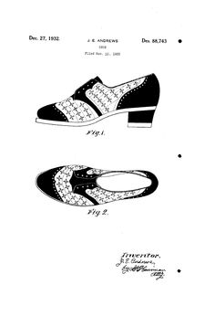1932 DESIGN FOR A SHOE  JEROME EDSON ANDREWS