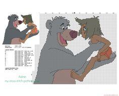 Mowgli e Orso Baloo schema punto croce ricamo