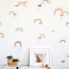 Deer Wallpaper, Palm Leaf Wallpaper, Nursery Wallpaper, Flower Wallpaper, Rainbow Wall Decal, Project Nursery, Nursery Ideas, Nursery Inspiration, Oh Deer