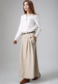Khaki Linen skirt   long skirt  women skirts linen skirt  custom made (903) by xiaolizi on Etsy https://www.etsy.com/listing/58940925/khaki-linen-skirt-long-skirt-women