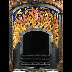 An exact one - off replica of a Spanish / Catalonian Art Modernista mosaic flame register grate... being an exact replica made in our workshops of the firebox of our sold stock no 4292, mosaic and hammered wrought iron designed by Domenic y Montaner, designer of the Palao Musica in Barcelona.... contemporary of Gaudi... they both used the services of the same Mosaicists and metal craftsmen.