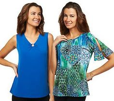 Susan Graver Liquid Knit tops with ring details