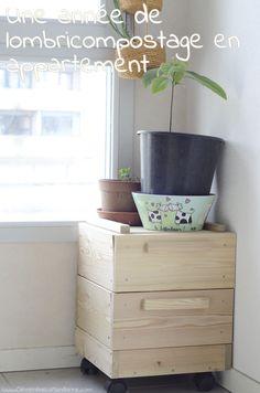 Un lombricomposteur à la maison – 1 : découverte Worm Farm, Green Girl, Permaculture, Worms, Outdoor Spaces, Planter Pots, Homemade, Furniture, Coin