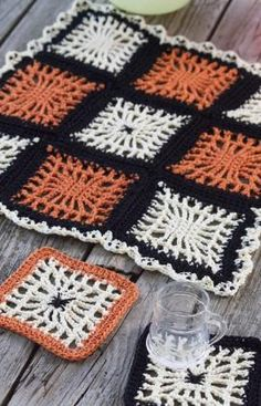 Spiderweb Coasters and Halloween Table Center Free Crochet Pattern from Red Heart Yarns