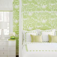 Guest Rooms - 2016 Hamptons Showhouse Photo Tour - Coastal Living Pencil Post Bed by Reid Classics; Nassau Wallpaper by Meg Braff Design; Nightstand by Bungalow Five