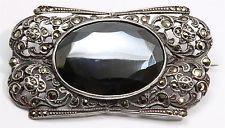 Vintage TM&Co Birmingham Sterling Silver Art Deco Marcasite Hematite Brooch Pin