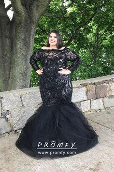 d56a8576662c Glistening Black Long Sleeve Trumpet Floor Length Plus Size Prom Dress