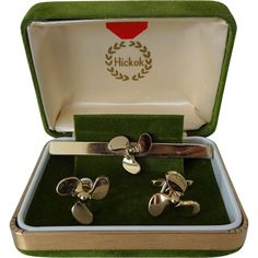 Hickok Airplane Propeller Cuff Links Tie Clip Vintage 1950s Mens Jewelry Set Mid Century MCM Presentation Box Signed Was $50 - Now $35  https://www.rubylane.com/item/676693-J16-89/Hickok-Airplane-Propeller-Cuff-Links-Tie#.WKzstxINdrQ.pinterest