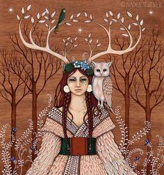 'Girl and Owl' (artwork by Nadia Turner)