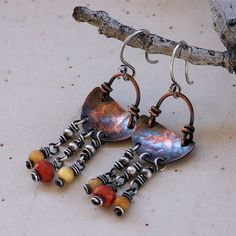 RESERVED LISTING . Sterling Silver Earring Copper by PrivateRoad