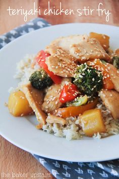 Teriyaki chicken stir fry from The Baker Upstairs. A quick, healthy, and delicious meal your family will love! www.thebakerupstairs.com