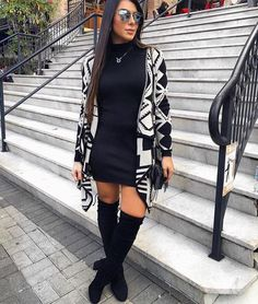 ( Aztec pattern) All Black, high boots and a bold Aztec pattern sweater. ( Aztec pattern) All Black, high boots and a bold Aztec pattern sweater. Trendy Outfits, Fashion Outfits, Womens Fashion, Casual Outfits For Girls, Moda Fashion, Fashion Fashion, Fashion Ideas, Vintage Fashion, Fall Winter Outfits