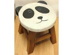 Kids Wooden Panda Stool.   Absolutely adorable little wooden stool with a panda face seat! Very very cute!! Handmade in Northern Thailand using acacia wood from managed forests. Ethically Traded.