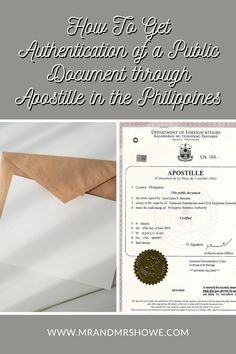 """How To Get Authentication of a Public Document through Apostille in the Philippines To know that the documents originating from your country are authentic, they have an Apostille. Before, you need to have a """"red ribbon"""" to prove it's legit. Now, most countries accept an Apostille, including the Philippines. Here's a guide on how to get an Apostille for Philippine Documents. Manila Philippines, Philippines Travel, Electronic Signs, Marriage Records, Davao, State College, Public, Author, Messages"""