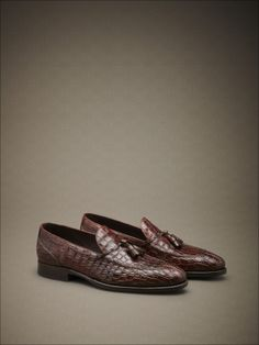 Loafers with crocodile flank tassels, Goodyear construction. #fw14 #man #accessories