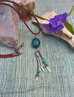 Bohemian Charm Necklace withTurquoise, Silver Arrow Charm and Raw Quartz Points on Leather, Handmade, OOAK by SaracenProvisions on Etsy