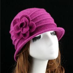 254ca959ab880 women dome fedora 100% wool hat for autumn and winter solid floral warm  floppy hat Vintage Retro Bowler Fedoras Caps