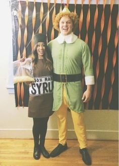 12 Couples Halloween Costume Ideas: Buddy the Elf & Maple Syrup Clever Couple Costumes, Two Person Costumes, Couples Halloween Outfits, Funny Christmas Costumes, Cool Couple Halloween Costumes, Hallowen Costume, Funny Costumes, Christmas Humor, Costume Ideas