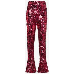 Halpern High Waisted Sequin Flared Trousers ($1,860) ❤ liked on Polyvore featuring pants, purple pants, high waisted pants, flare pants, highwaist pants and high waisted flare pants