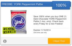 FREE York Dark Chocolate Peppermint Pattie courtesy of SavingStar