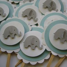 Elephant Cupcake Toppers  Blue Gray and White  by Whimsiesbykaren, $6.75