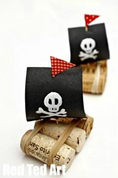 Pirate Ships for Talk Like a Pirate Day- Cork Boat craft for kidsYou can find Pirate ships and more on our website.Pirate Ships for Talk Like a Pirate Day- Cork Boat craft for kids Boat Crafts, Camping Crafts, Summer Crafts, Craft Projects, Crafts For Kids, Garden Crafts, Garden Art, Craft Kids, Kids Pirate Crafts