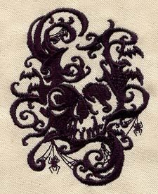 HALLOWEEN SKULL SHADOWS GOTH GOTHIC- 2 EMBROIDERED HAND TOWELS by Susan