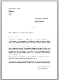 Télécharger Exemple Demande Stage PDF et word | Lettre de ...