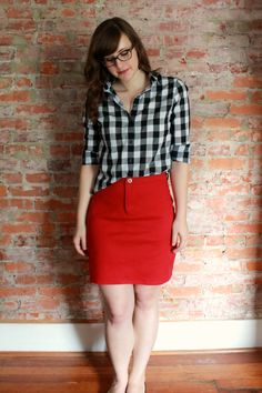 gingham archer and red moss mini // Four Square Walls Dope Fashion, Fashion Outfits, Fall Fashion, Gingham Shirt Outfit, Red Skirts, Mini Skirts, Diy Clothes, Clothes For Women, Making Clothes