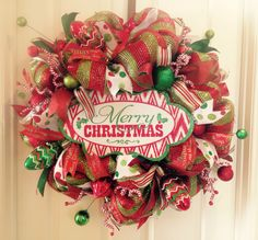 Merry Christmas Deco Mesh Wreath from Saucy Wreaths! Red, green, white, light bulbs, decorations & ribbon! $85 at www.facebook.com/saucywreaths