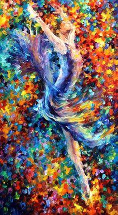 Salto espátula figura pintura al óleo sobre por AfremovArtStudio