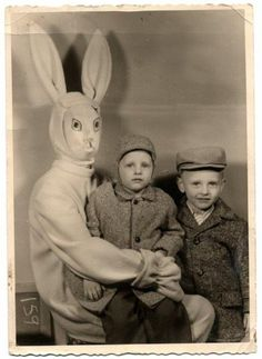 The child closest to the Creepster Bunny appears to have the correct amount of fear in his eyes, but his sibling doesn't seem nearly fazed enough.