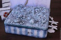 "Шкатулка ""Тайны Русалки"" - голубой,шкатулка в морском стиле,шкатулка морская"