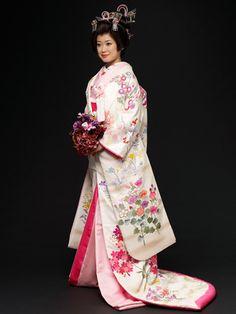 Japanese style wedding ceremony clothes. Kimono. Beautiful.