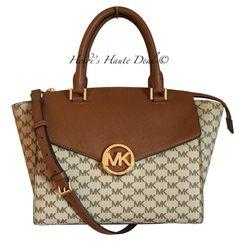 10e7a33cf307 Michael Kors Authentic Hudson Natural/luggage Large Logo Satchel Handbag  for sale online   eBay