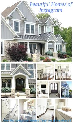 I like how they broke up the bump outs using a combo of shingle and board and batton. Exterior Paint Colors, Exterior House Colors, Style At Home, Grey Houses, Exterior Siding, Craftsman Exterior, Building Exterior, Cottage Exterior, House Siding