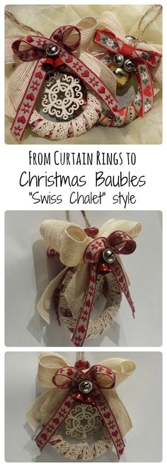 Step-by-step Christmas Baubles home made from up-cycled curtain rings. www.slightlyawkwardmum.com