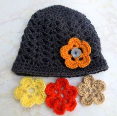 Charcoal Grey Shell Beanie Set with 4 Interchangeable Flowers for babies, children and adults on Etsy or www.Facebook.com/TiedinKnotsCrochet.TIK