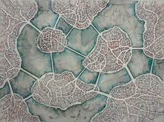 """Emily Garfield. Aorta Isles (Cityspace #210). Water-soluble pencil on paper; 18""""x24""""."""