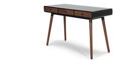 Edelweiss Desk, Walnut and Black